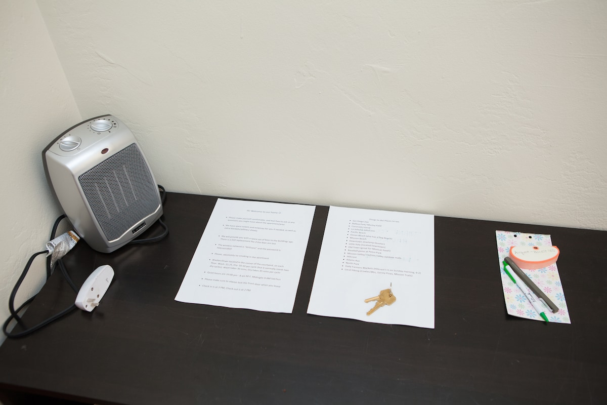 Heater and nightlight for your comfort, as well as some info about our home and San Diego