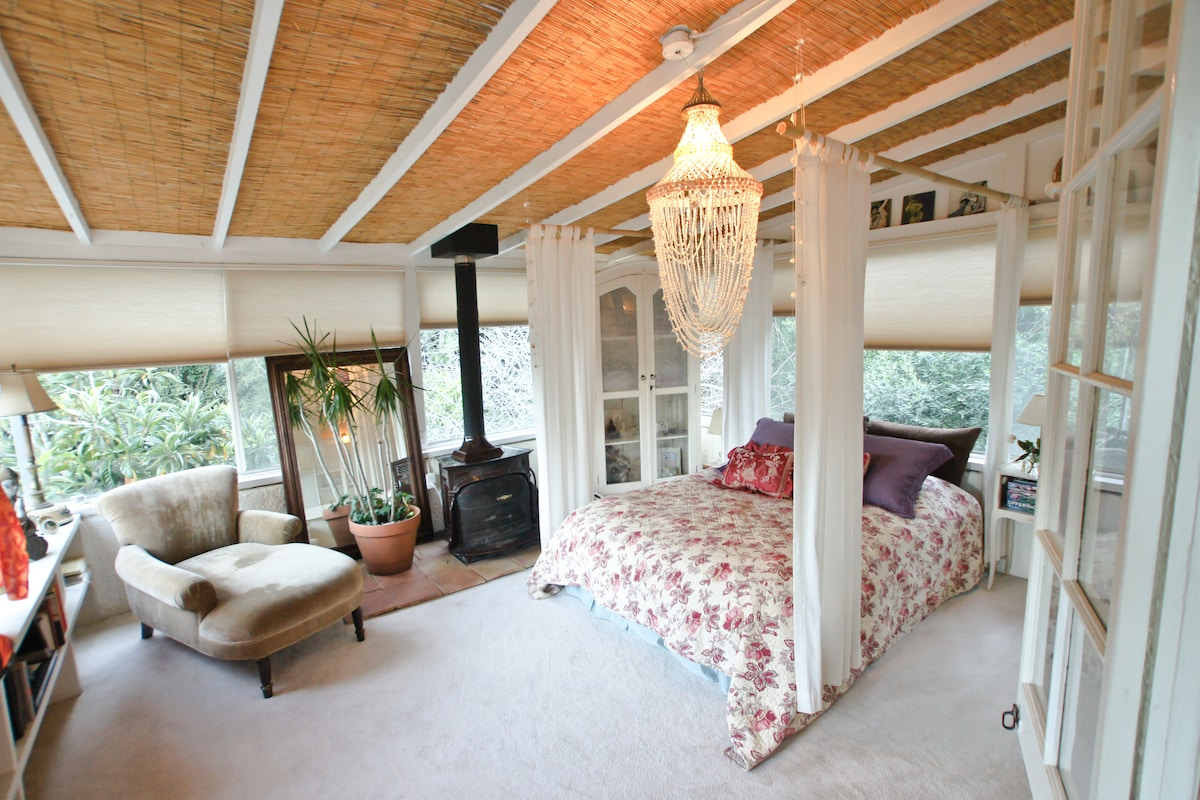 Master bedroom surrounded by fruit trees, privacy assured