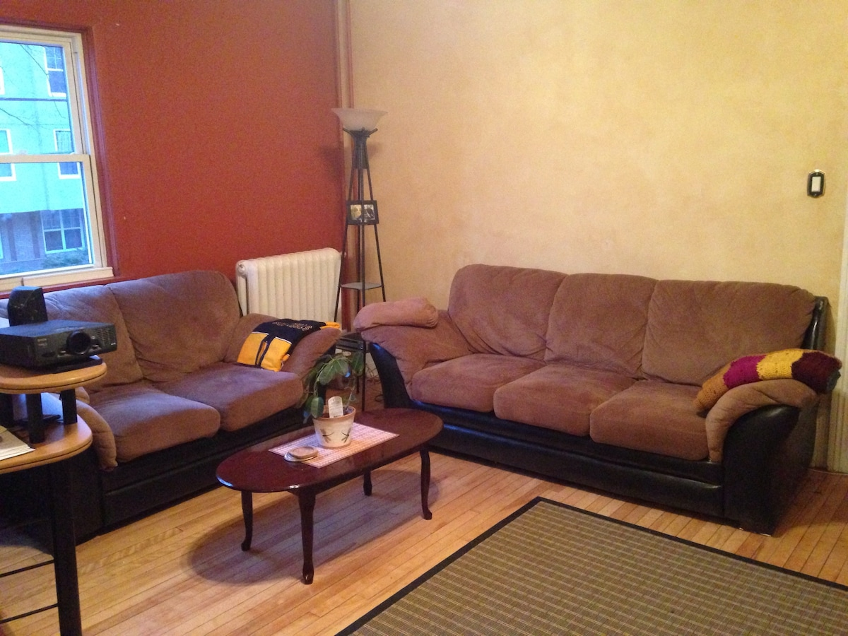 You have access to the livingroom to enjoy the lovely couches, books, movies etc..