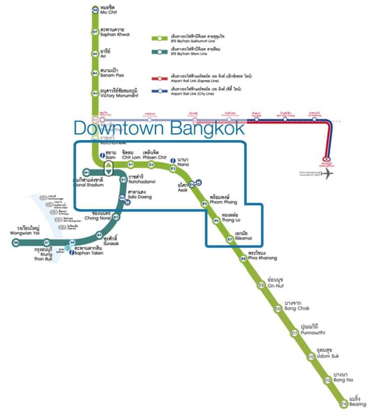 BTS map for downtown Bangkok starting from 'National Stadium' station - 'Ekamai' station - 'Saladang' station.