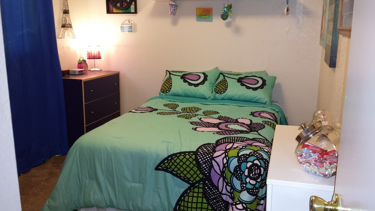 Double size bed with new linens.