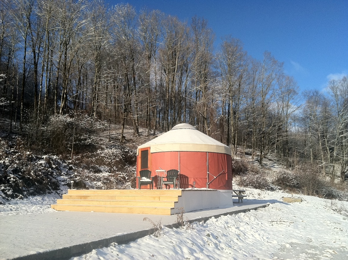 16 foot (4 Season, heated Yurt) at Loomis Lair on first snow of the season