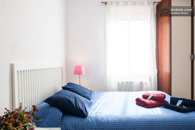 Bright spacious room with big sized double bed, big cupboard. Towels and sheets.