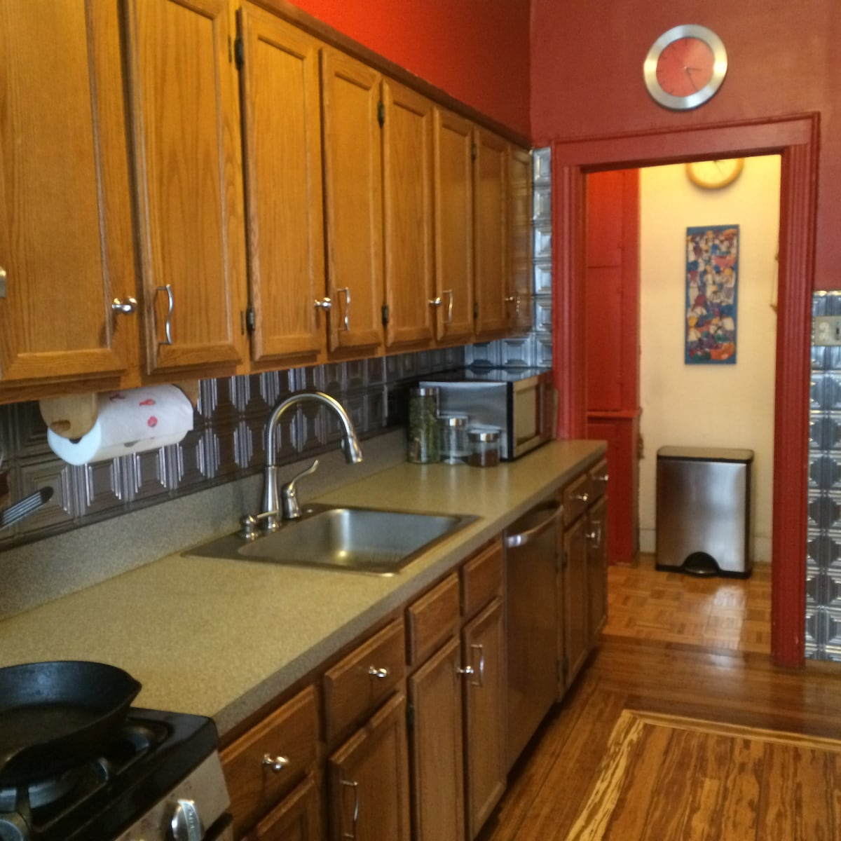 Cook at home! Full kitchen with counter/stools opposite wall. Dishwasher and powerful gas stove. Separate pantry.