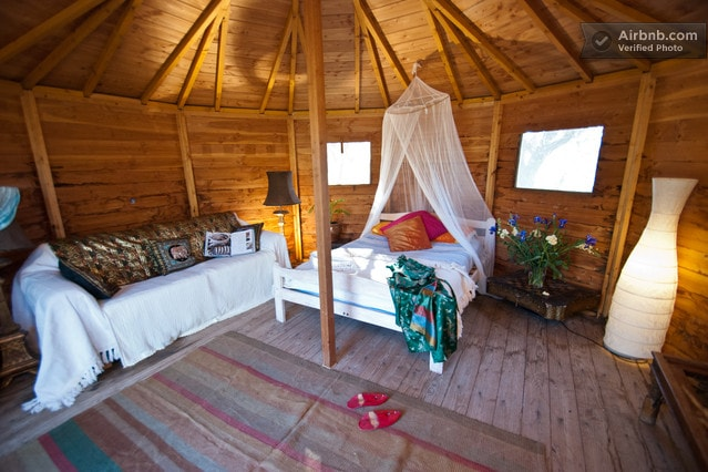This is the Wood Cabin which sleeps 2 but we can add a bed if needed.