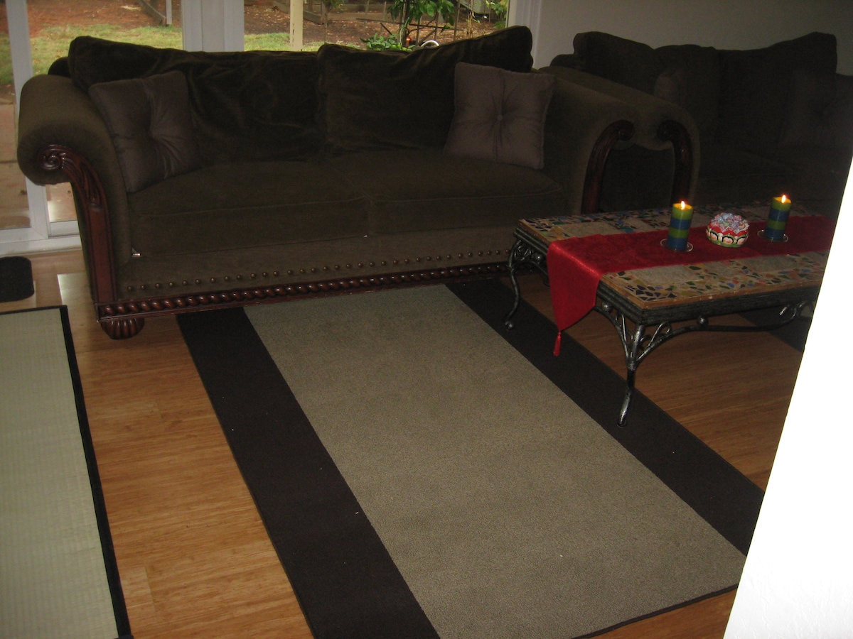 *Couch that will be made up into your bed*