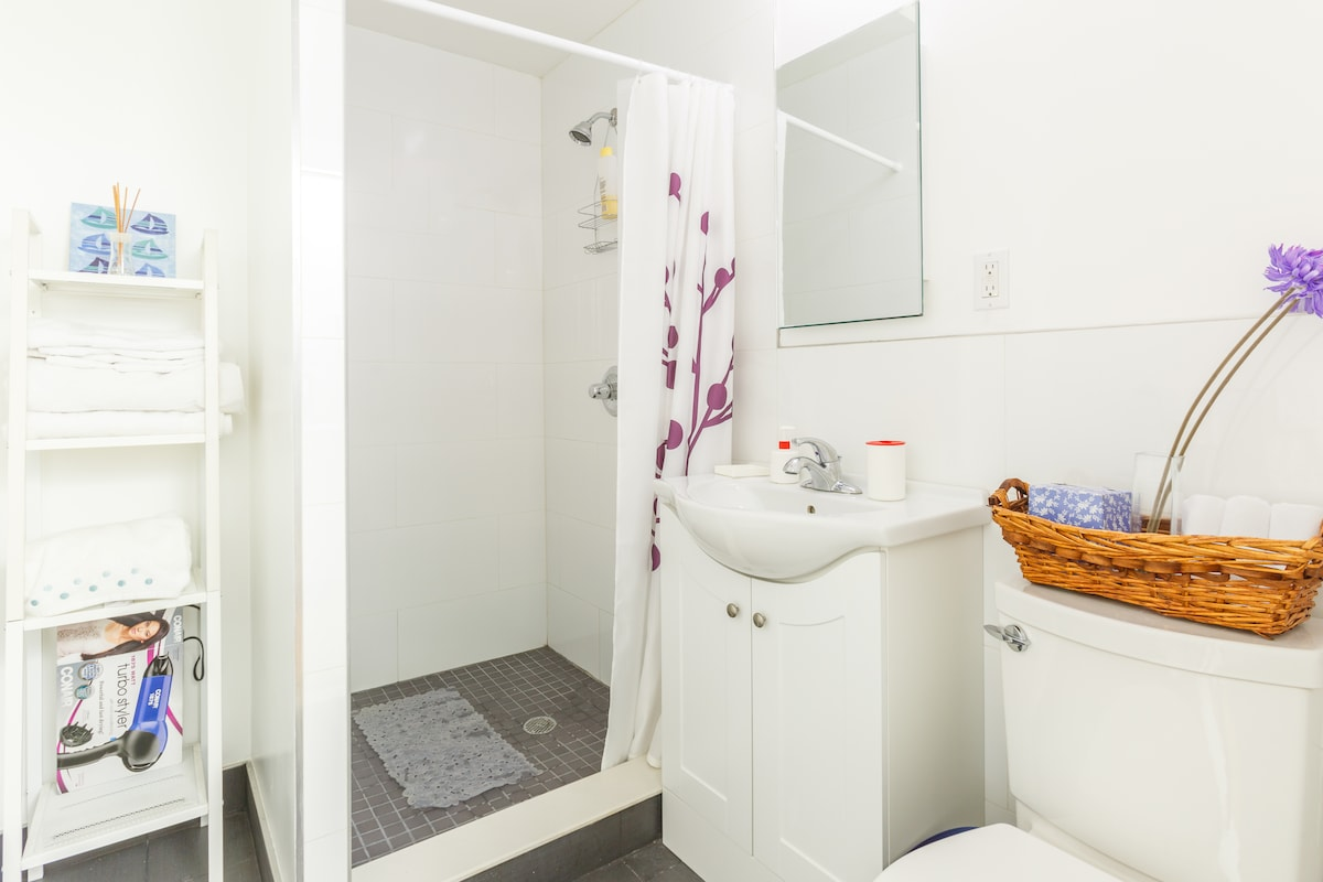 Large Bathroom, stand up shower, great hot water, plenty of plush towels and hairdryer