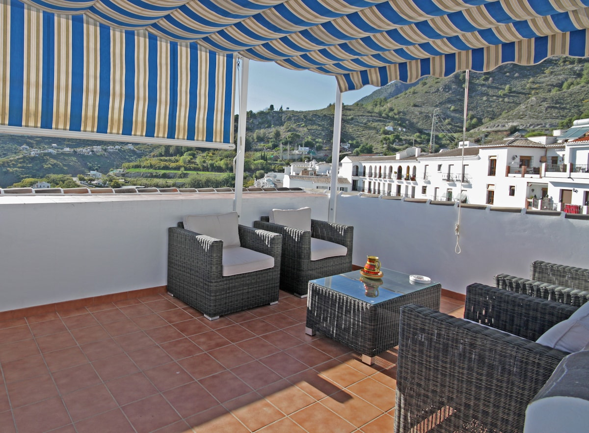 """This is my favourite of the many terraces, We call it the """"Look out Post"""" as it provides 360 degree views of sun,sea  & mountains"""