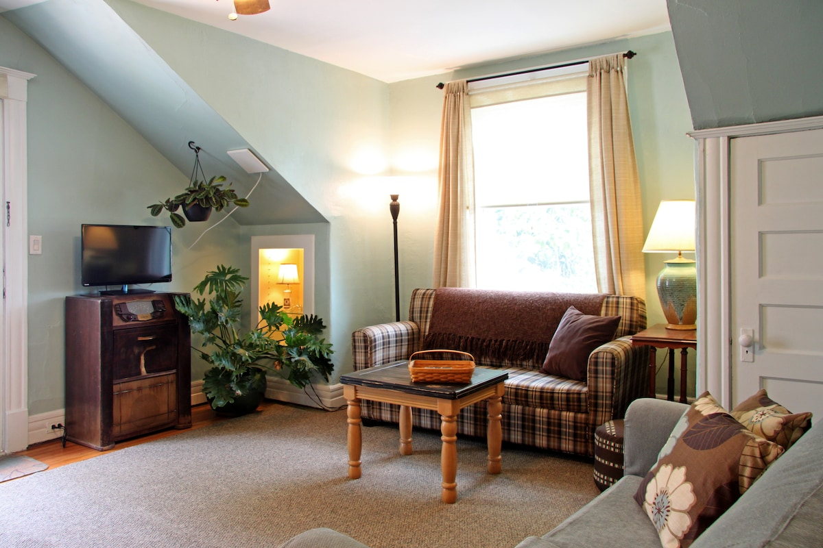 The large living room has two pull out couches for extra sleeping space.