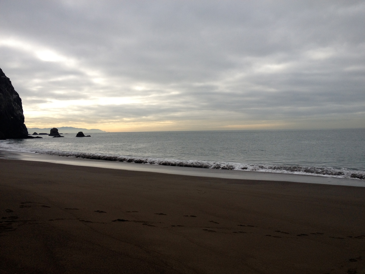 Tennessee valley beach hike, 10 minutes by car. 3 mile round trip hike= super easy. No signs no buildings no Mc Donalds.