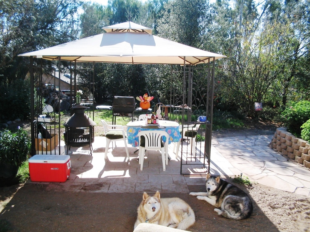 Gazebo, great for a sunny breakfast, or bbq.