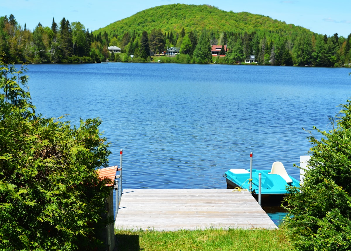 The private dock and pedal boat on Lac Gagnon.