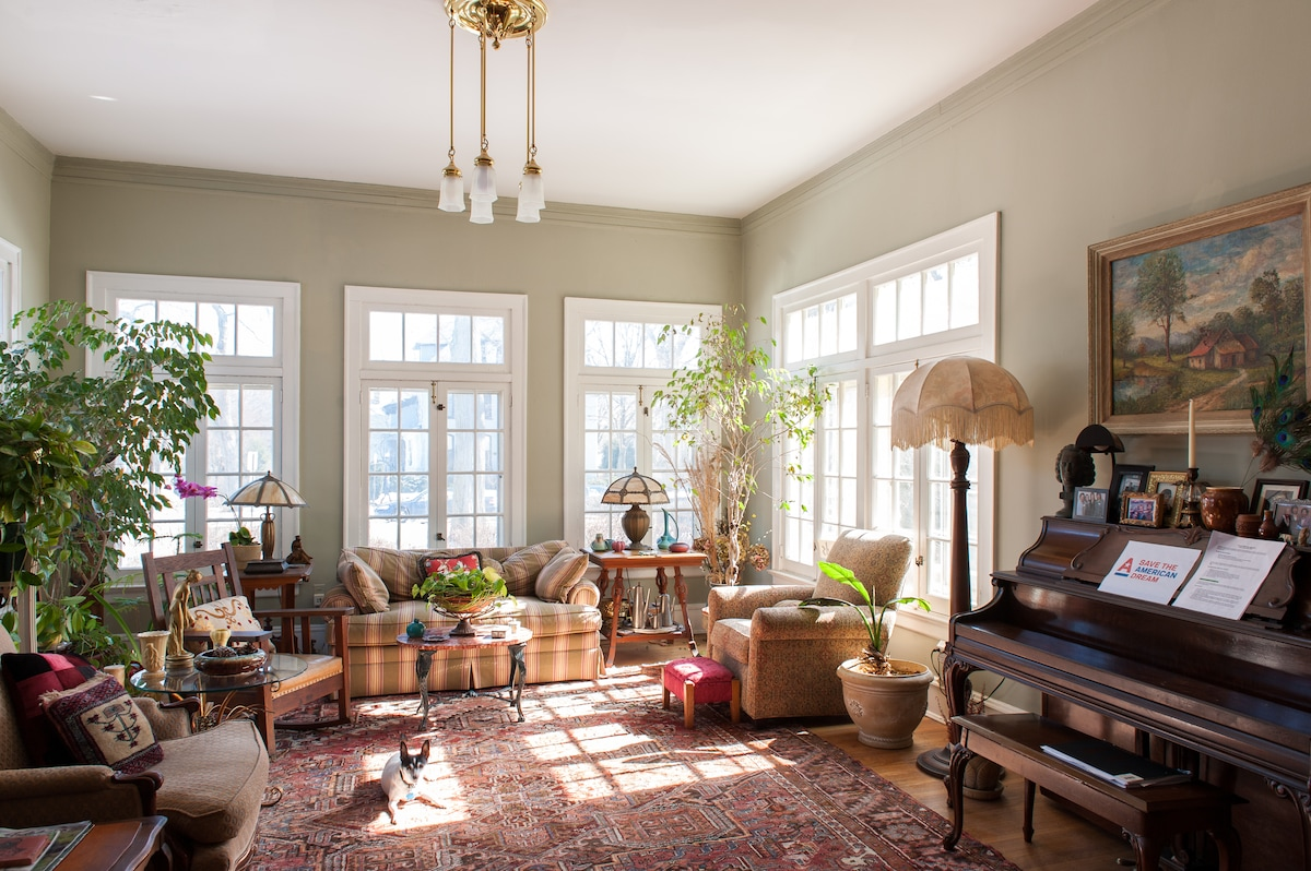 Our beautiful sunny living room, which also is a great music room