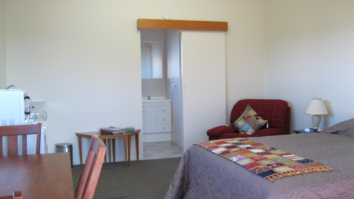 Main room including queen bed , Sky TV, kitchenette and dining table