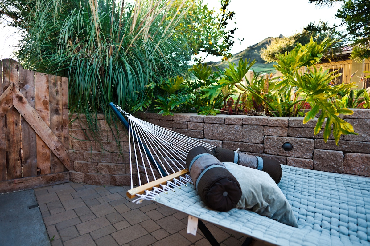 Patio view of hammock and Bishops Peak in background.