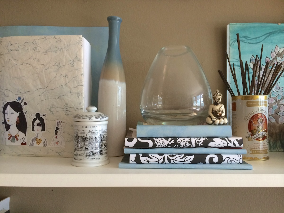 Vintage touches and found treasures from all over the world throughout the condo.
