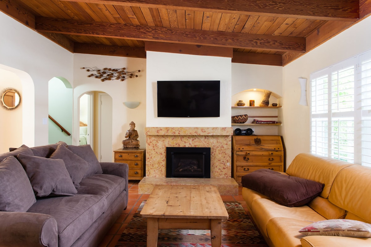 """Gas fireplace and 55"""" TV"""