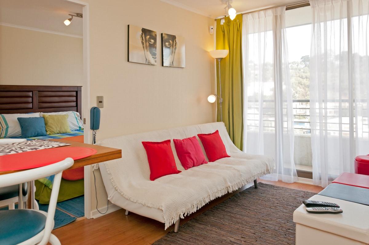 Living comedor, con futón convertible en cama de 1,5 plazas