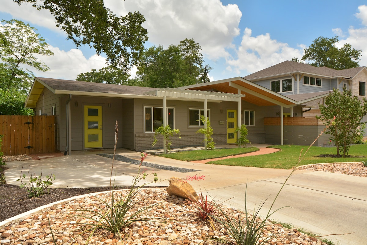 A mid-century modern delight in Austin is this charming home known as butterfly house, for the spunky roof line.