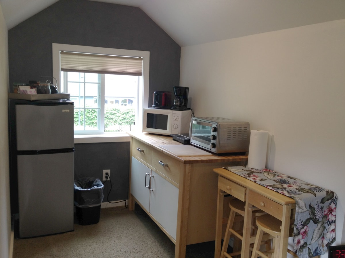 Kitchenette with, Fridge, Microwave, Toaster Oven, Coffee Pot, Hot Plate