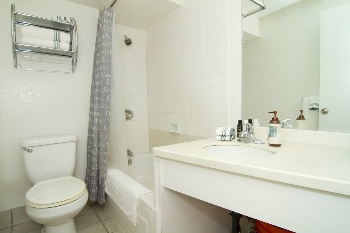 Private bath and shower, fresh linens when you arrive.