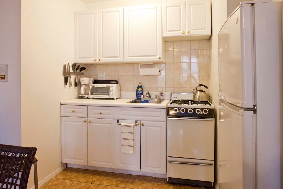 Full kitchen includes stove, refrigerator, microwave, toaster oven, coffee maker, dishes, pots, pans, etc. as well as coffee and tea.