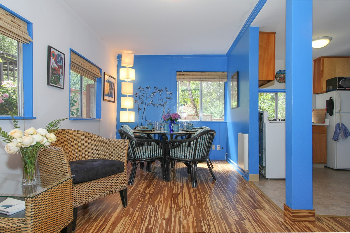 Stylish living room and dining room with bamboo wood floors.