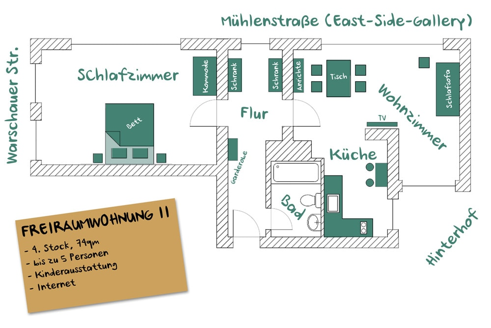 FREIRAUMWOHNUNG II - Grundriss / 74 qm / 2 rooms / up to 5 persons possible
