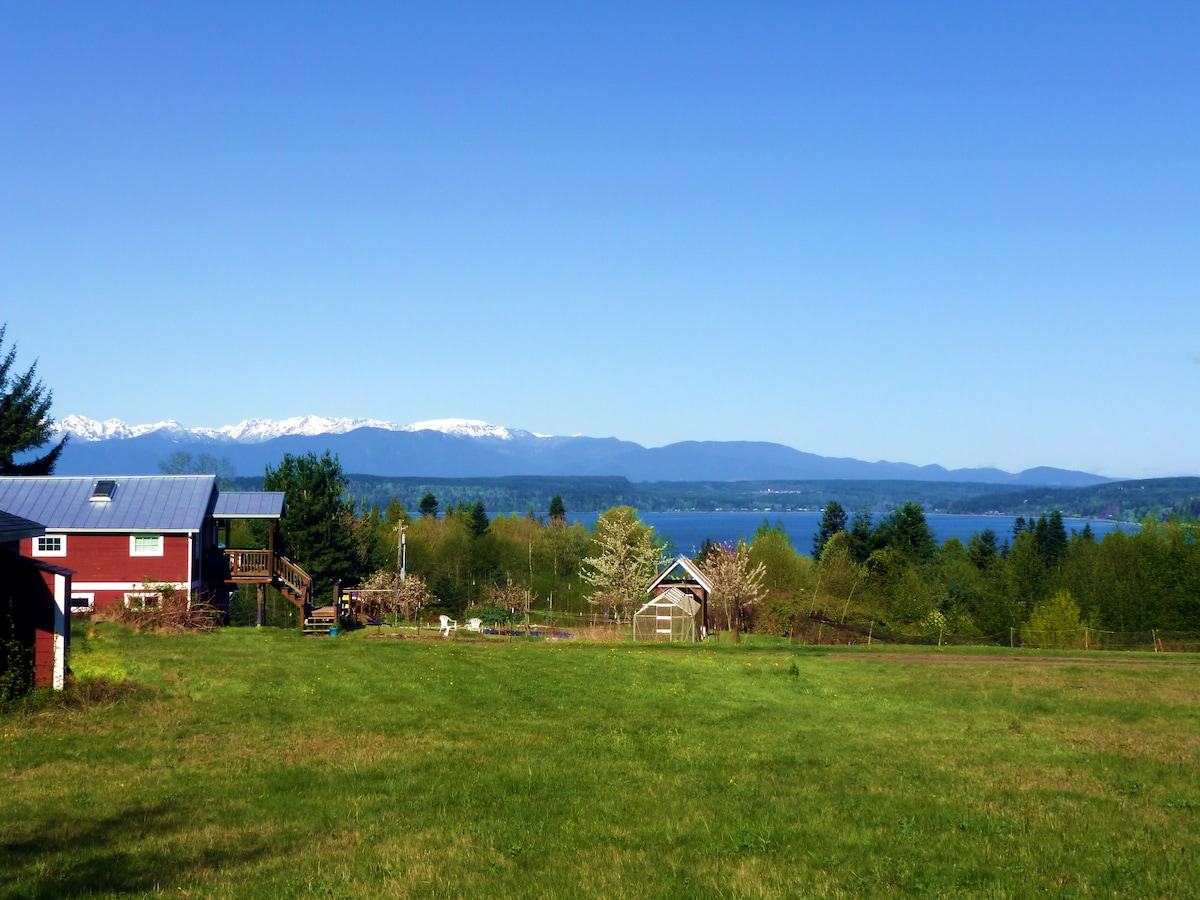 View of the Barn, Hood Canal, and Olympic Mtns from the road