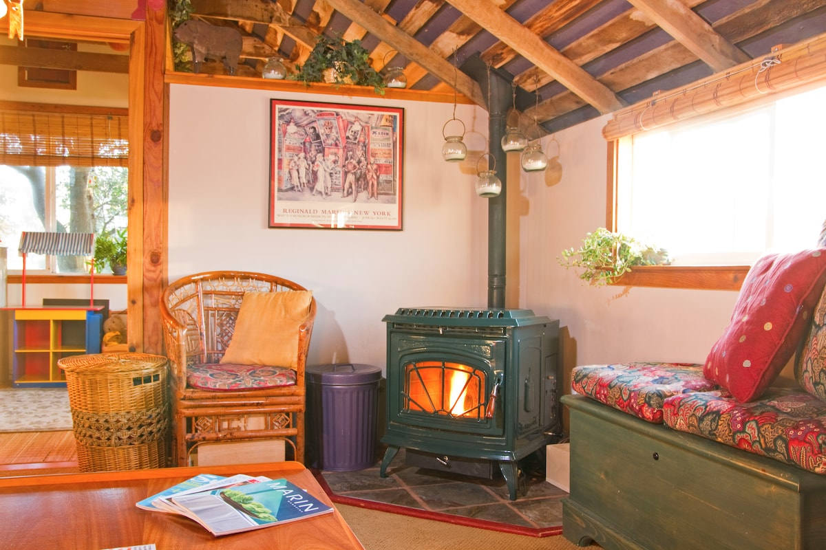 Everyone loves the cozy, warm pellet stove when it's chilly out!