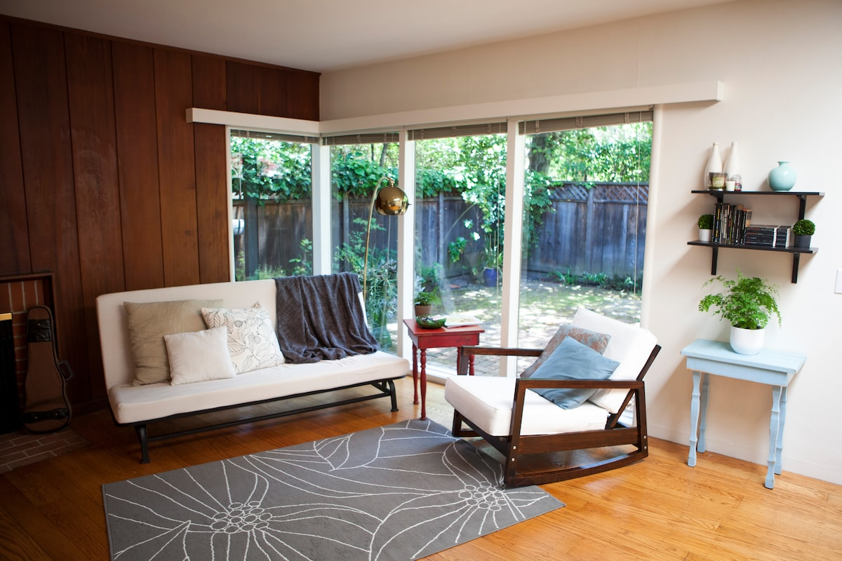 Full windows open to patio with complete privacy.