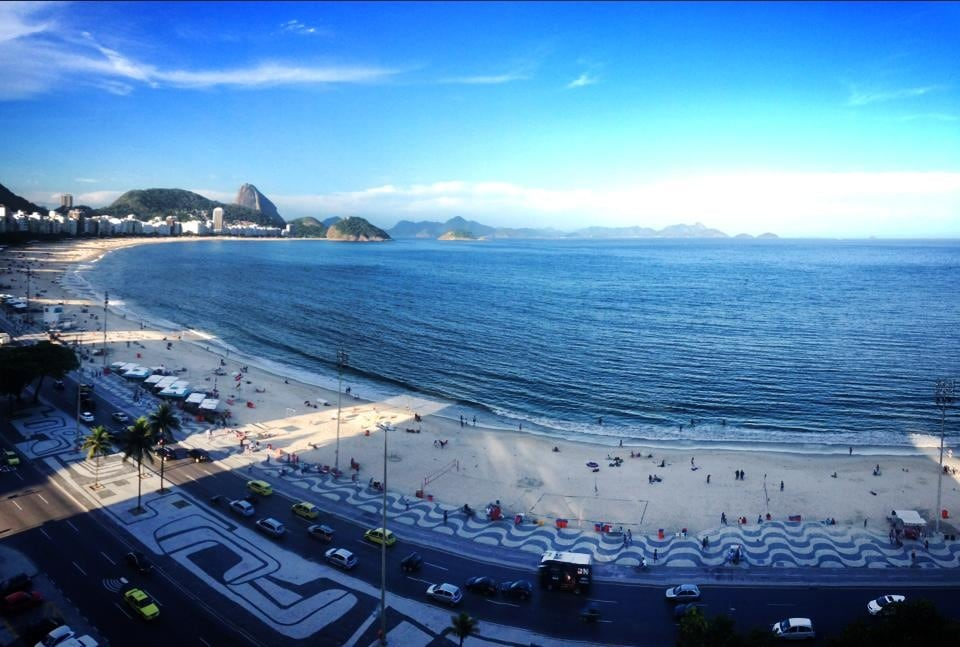 This is our view of all of Copacabana Bay and SugarLoaf from the apartment window. (photo by Marty & Anthony)