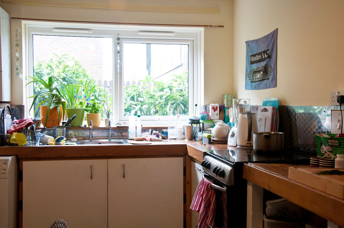 Here's the kitchen sink  and you can watch the world go by through the window. Quite often there are squirrels about to keep us amused