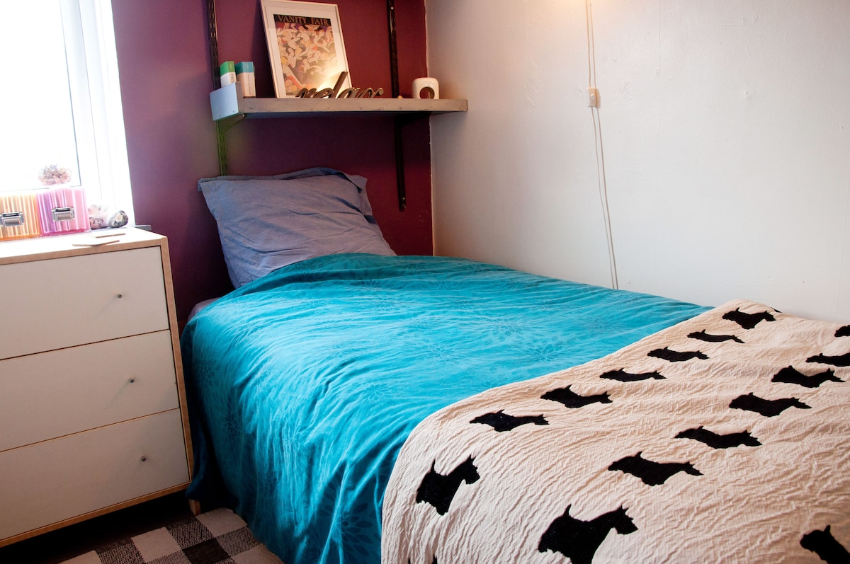 Comfortable large single bed with lots of storage space underneath and TV in the room