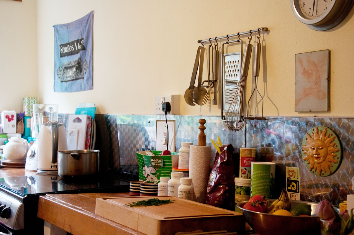 This is my quirky kitchen, which you are welcome to use I am a vegetarian