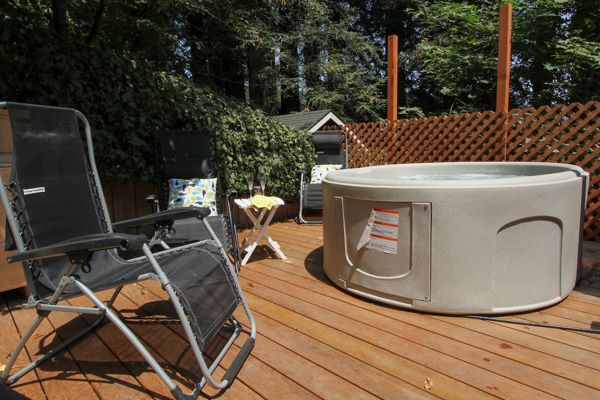 the new hot tub (2-5 person); lounge on deck off the main deck entrance