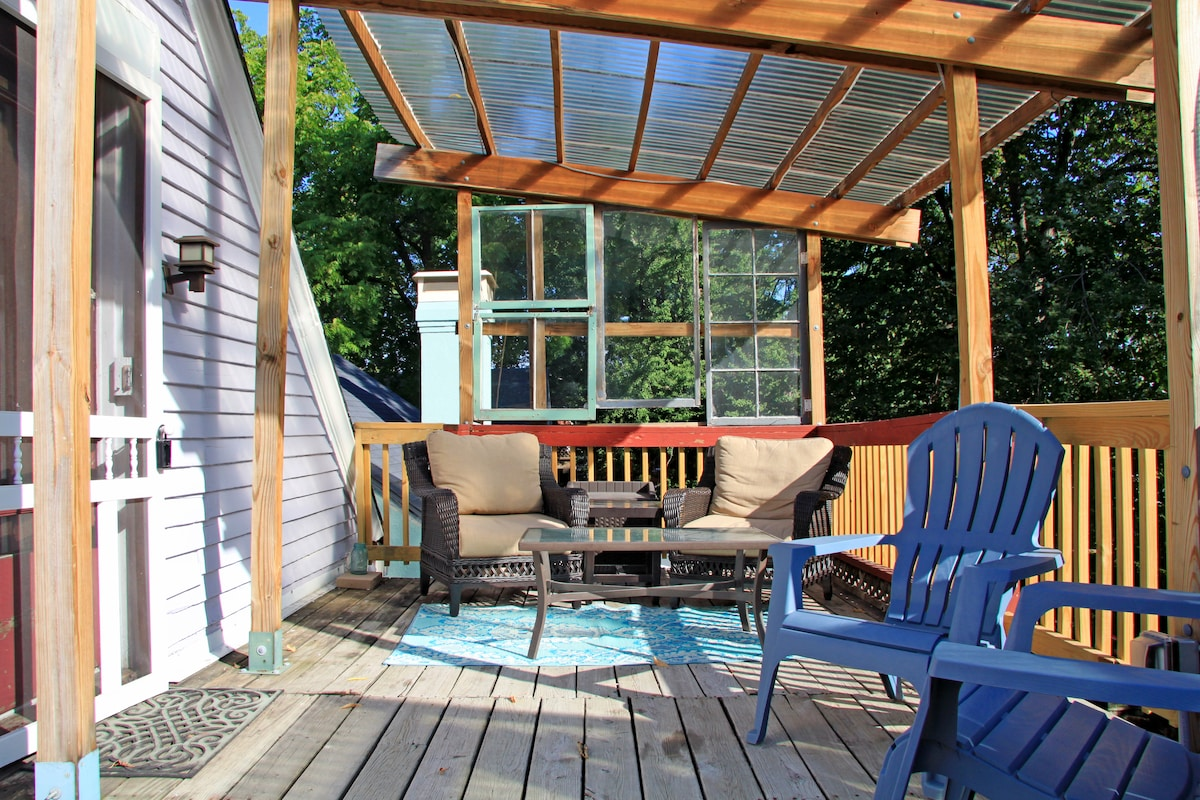 Relax on your own private treetop deck.