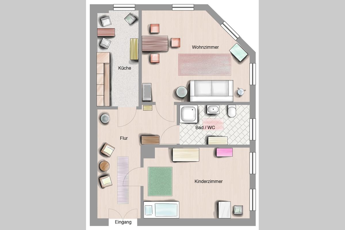 Der Grundriss der Wohnung