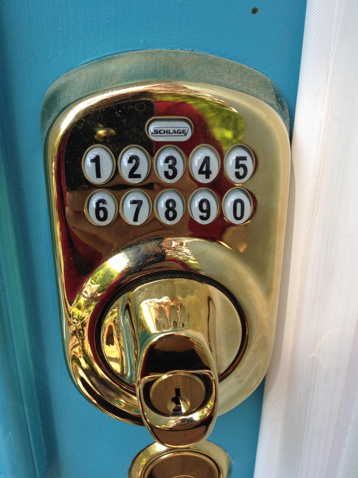 Combination lock on the front door = no key exchange!