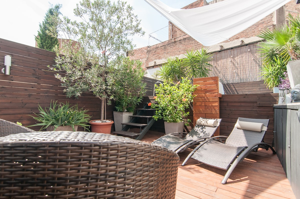 Luxury apartment with parking in barcelona for Terrace 45 qc