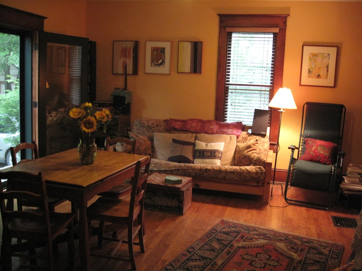 Living room dining area looking northwest in Summer