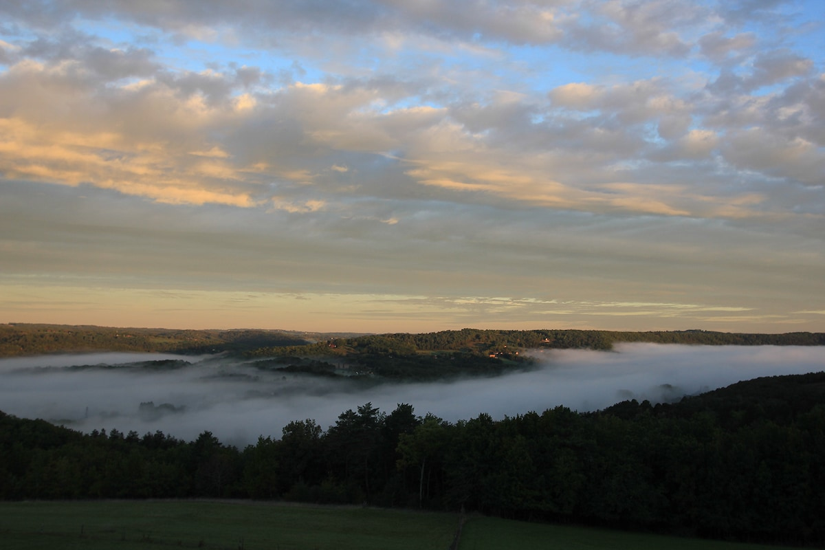 Large morning view on the valley from the surroundings