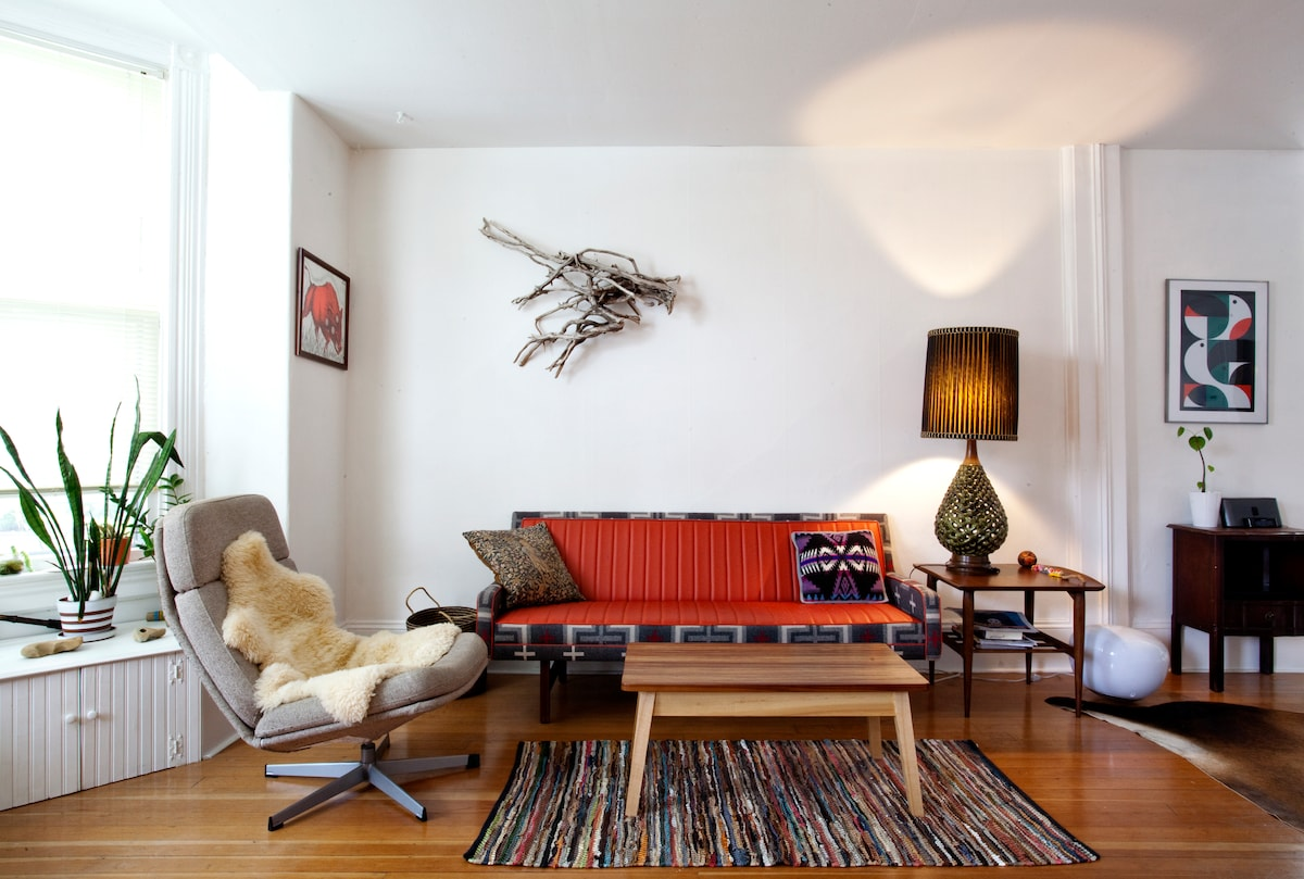 a place to relax: custom upholstered Pendelton sofa and owner designed/built coffee table
