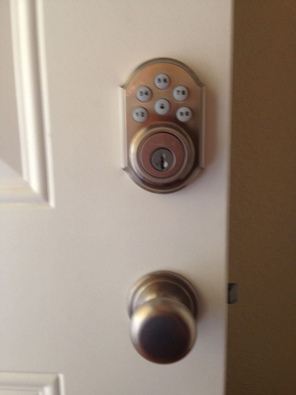 We have a keypad entry on the front door which makes everything really easy.