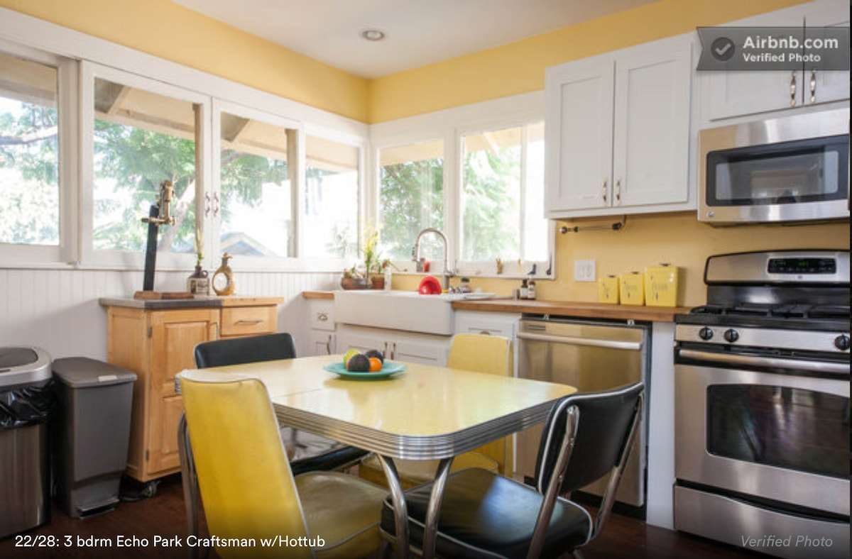 Eat in kitchen with full access to appliances, fridge, cabinet space, and complimentary tea and coffee.