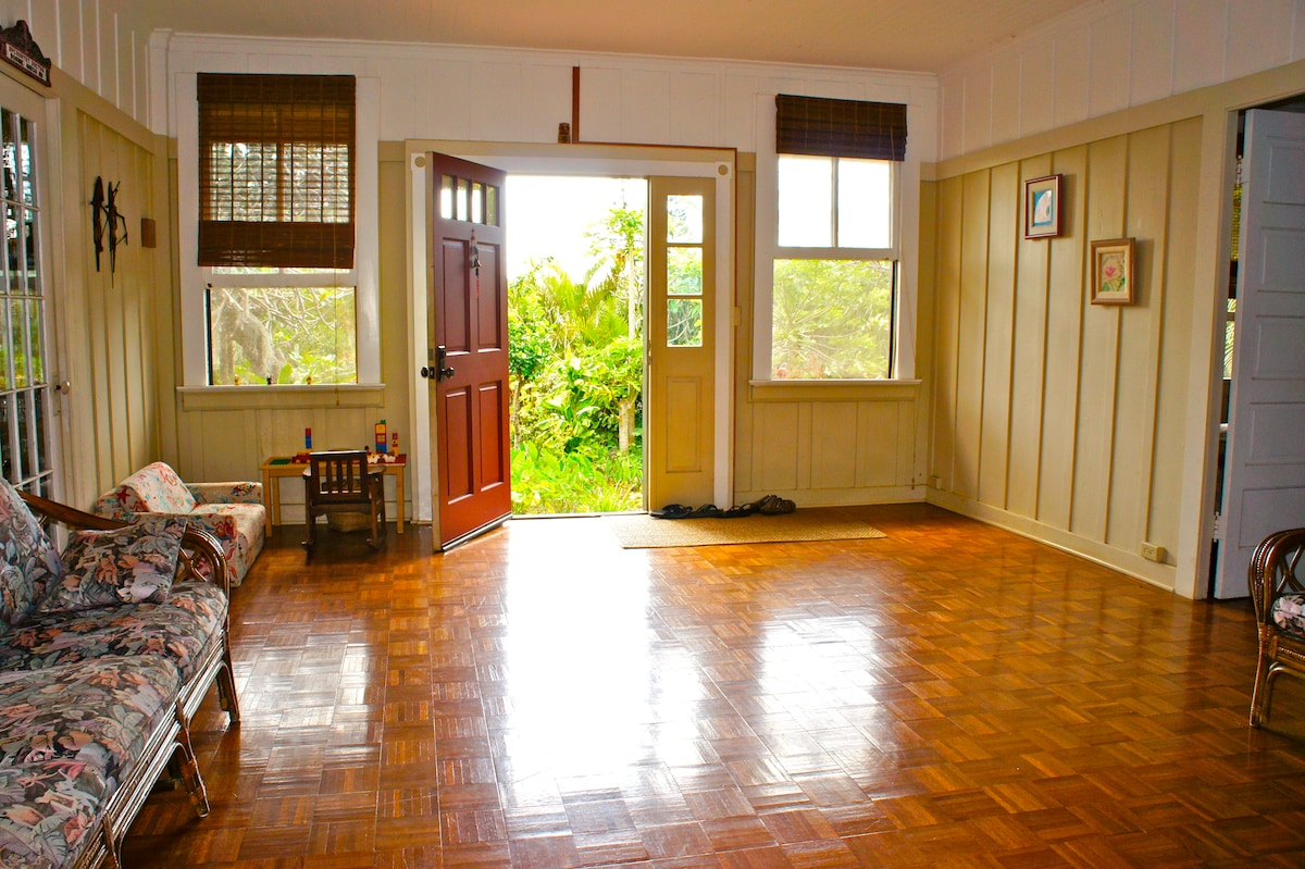 Open door as the sun enters into the front room.