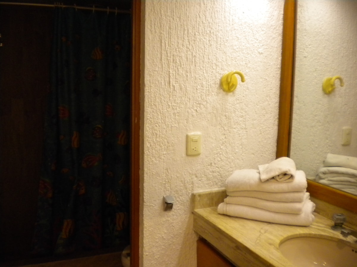 Your large bathroom with ample space! A large dressing area & a large walk-in shower!