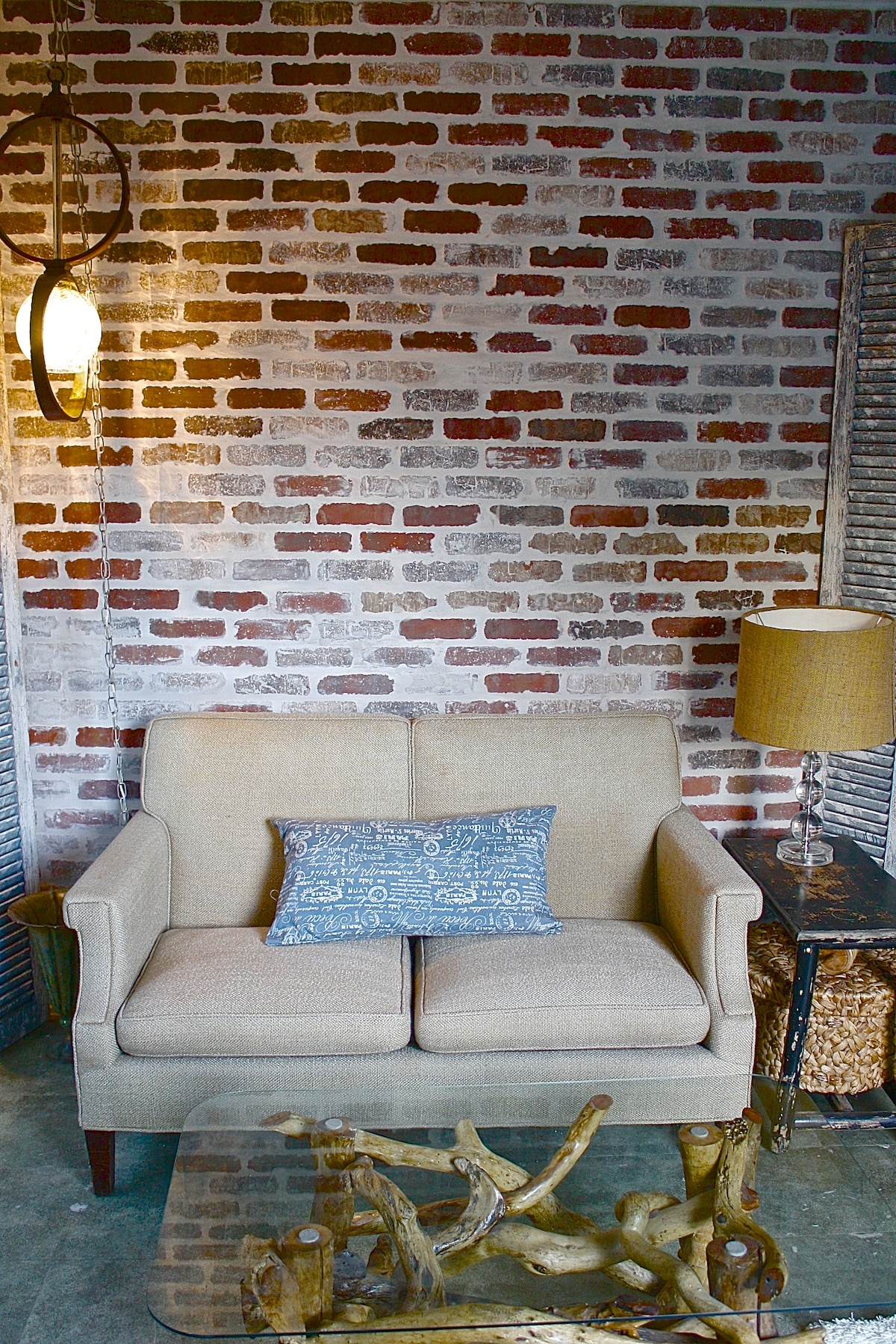 Decorated with up cycled, repurposed and vintage furniture and decor.