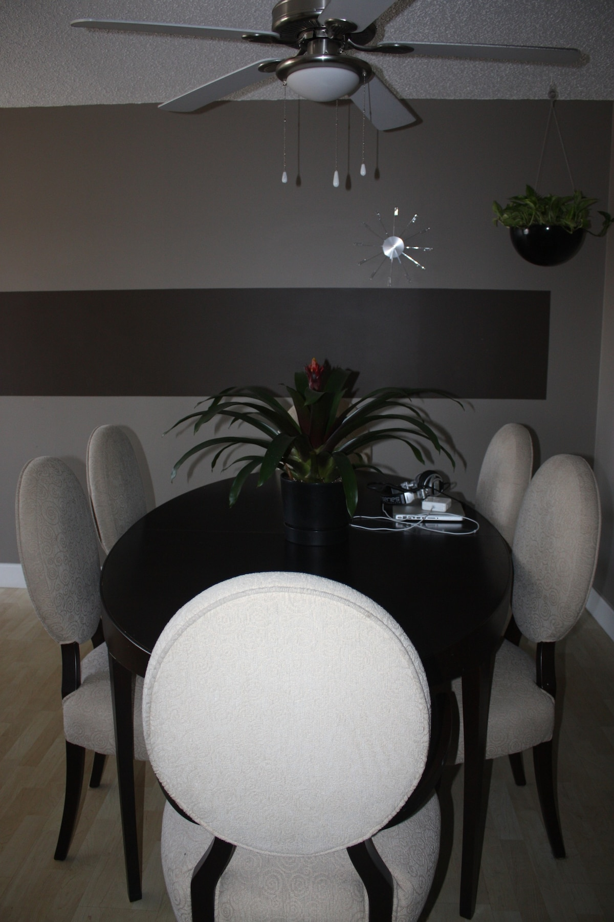 Dining area that doubles as a workspace.  Come hang out, its more casual than it looks!