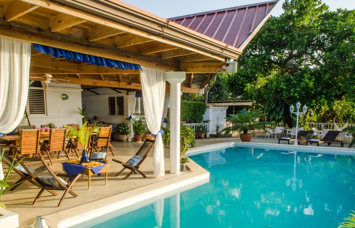 Coverd terrace, swimming pool and pool deck